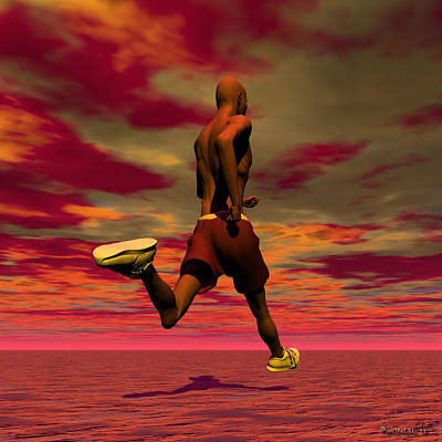 Jogging Digital Art - Tall Runner by Walter Oliver Neal