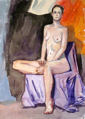 Painting - Tall Seated Nude by Mark Lunde