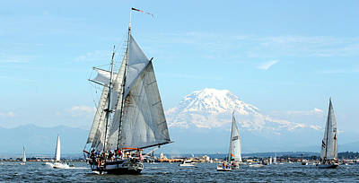 Tall Ship And Mount Rainier Art Print