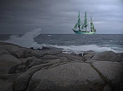 Photograph - Tall Ship Arriving by George Cousins