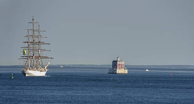Photograph - Tall Ship Cisne Branco Passes Ledge Light by Marianne Campolongo