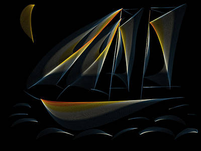 Navigation Digital Art - Tall Ship Dark Night by Heidi Smith