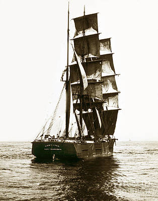 Photograph - Tall Ship Germania Out Of San Francisco California  Circa 1900 by California Views Mr Pat Hathaway Archives