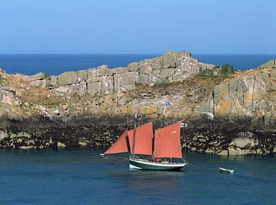 Tall Ship In Sea, Pointe Du Grouin Art Print
