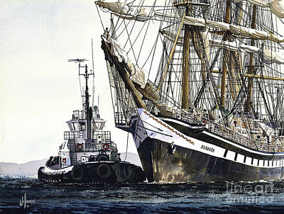 Tugboat Painting - Tall Ship Pallada by James Williamson