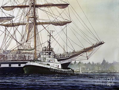 Tall Ships. Marine Art Painting - Tall Ship Pallada Tug Assist by James Williamson