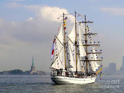 Photograph - Tall Ship Passing The Lady by Ed Weidman