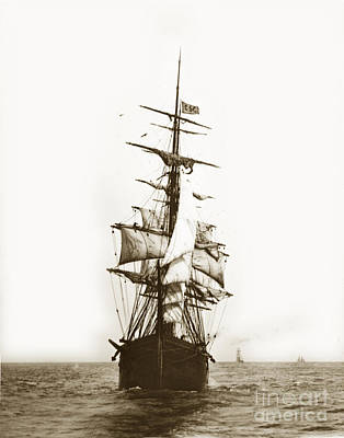 Photograph - Tall Ship Sailing Out Of San Francisco California Circa 1900 by California Views Mr Pat Hathaway Archives