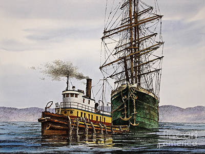 Tall Ship Tugboat Assist Art Print by James Williamson