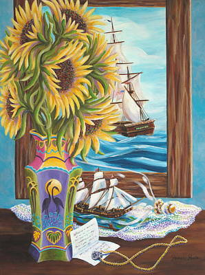 Painting - Tall Ships And Sunflowers by Pamela Poole