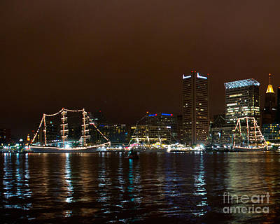 Photograph - Tall Ships At Night Panorama Set Panel 1 by Mark Dodd