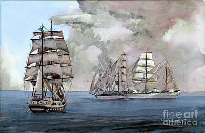 Tall Ships Off Newport Art Print by Steve Hamlin