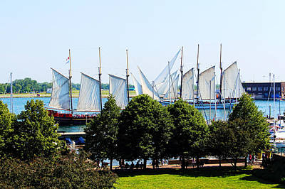Tall Ships Passing Art Print by Nicky Jameson