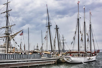 Digital Art - Tall Ships Under A Cloudy Sky by Photographic Art by Russel Ray Photos