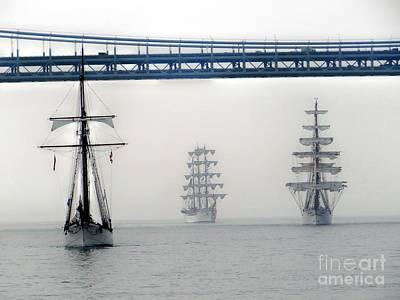 Photograph - Tall Ships Under Bridge by Ed Weidman