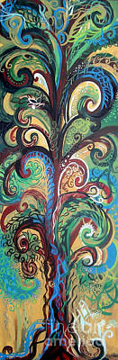 Eco-art Painting - Tall Tree Winding by Genevieve Esson