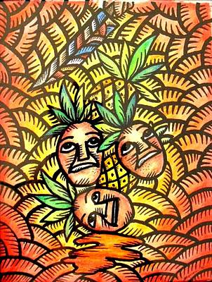 Painting - Talupan Ang Pinya Peel The Pineapples by Marconi Calindas