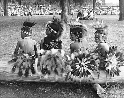 Photograph - Tama Pow Wow 1950s Children by Joan Liffring-Zug Bourret