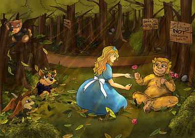 Art Print featuring the painting Tammy And The Baby Hoargg by Reynold Jay