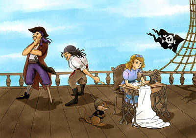 Art Print featuring the painting Tammy And The Pirates by Reynold Jay