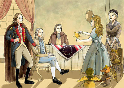 Art Print featuring the painting Tammy Meets Betsy Ross And George Washington by Reynold Jay