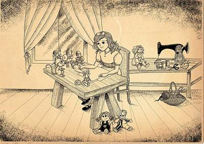 Art Print featuring the drawing Tammy Meets Alfred The Mouse by Reynold Jay