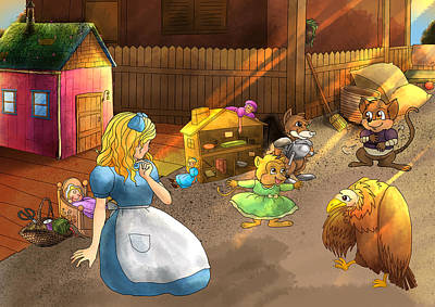 Painting - Tammy And Friends In The Backyard by Reynold Jay