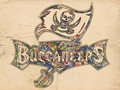 Painting - Tampa Bay Buccaneers Old Poster by Florian Rodarte