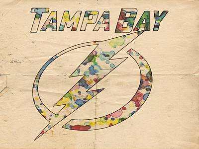 Painting - Tampa Bay Lightning Retro Poster by Florian Rodarte