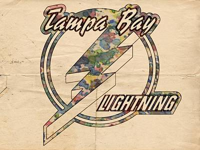 Hockey Painting - Tampa Bay Lightning Vintage Poster by Florian Rodarte