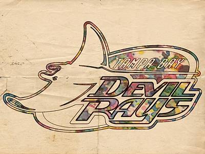 Painting - Tampa Bay Rays Vintage Logo by Florian Rodarte