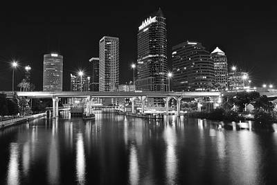 Tampa Black And White Night Art Print by Frozen in Time Fine Art Photography