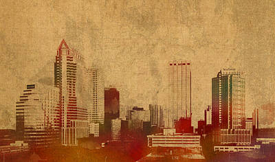 City Skyline Mixed Media - Tampa Florida City Skyline Watercolor On Worn Distressed Canvas by Design Turnpike