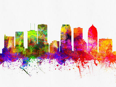Towns Digital Art - Tampa Florida Skyline by Aged Pixel