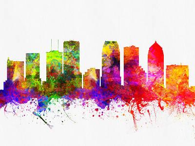 Tampa Digital Art - Tampa Florida Skyline by Aged Pixel