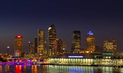 Clear Sky Photograph - Tampa Lights At Dusk by Marvin Spates