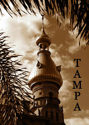 Photograph - Tampa Minaret With Palms by David Lee Thompson