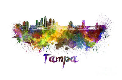 Tampa Painting - Tampa Skyline In Watercolor by Pablo Romero