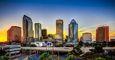 Panoramic Photograph - Tampa Skyline by Marvin Spates