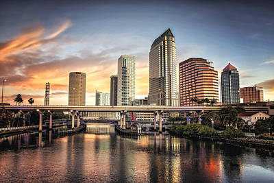 Photograph - Tampa Skyline Sunrise Hdr by Michael White