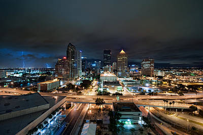 Tampa Skyline With Lightning Art Print