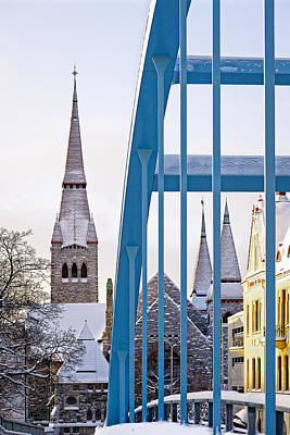 Photograph - Tampere Cathedral Behind The Bridge by Ari Salmela