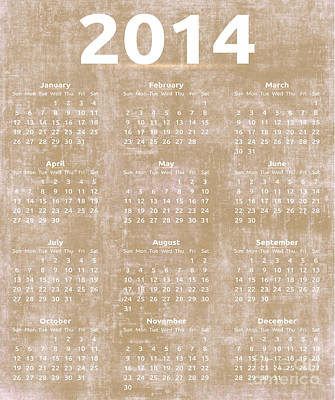 Vermeer Rights Managed Images - Tan Vintage 2014 Yearly Calendar Royalty-Free Image by Anne Kitzman