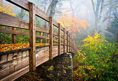 Mountain Royalty-Free and Rights-Managed Images - Tanawha Trail Foot Bridge - Rough Ridge Autumn Foliage NC by Dave Allen