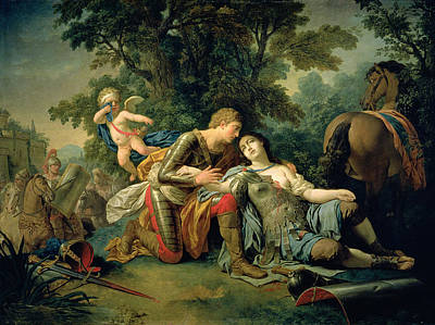 Damsel In Distress Painting - Tancred And Clorinda, 1761 by Louis Jean Francois I Lagrenee