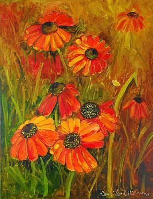 Painting - Tangerine Cone Flowers by Brandi  Hickman