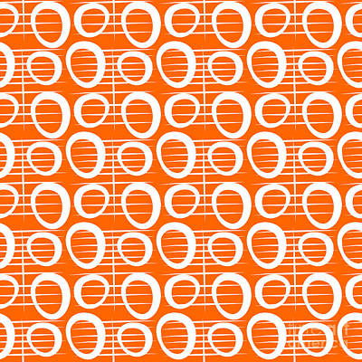 Mod Painting - Tangerine Loop by Linda Woods