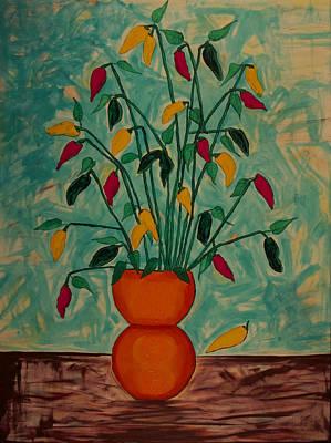 Tangerine Peppers Original by Phoenix The Moody Artist