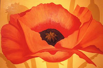 Tangerine Poppy Art Print by Linda Hiller