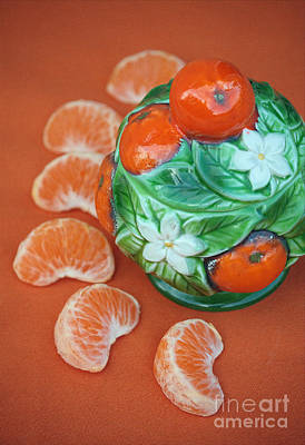 Tangerine Slices And Ceramics Print by Luv Photography